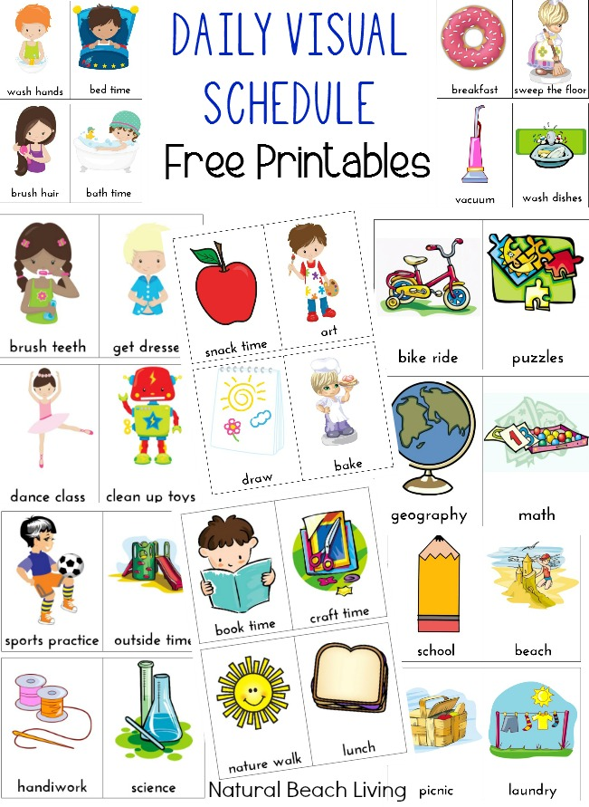 Daily Visual Schedule for Kids Free Printable Visual schedules - sample timeline for students