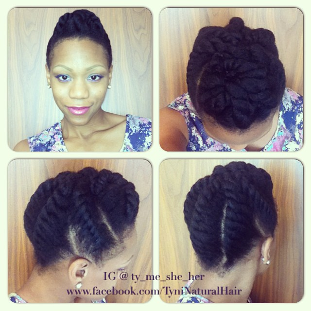 Simple Twist Styles For Natural Hair : Chunky flat twist updo for neck length or longer
