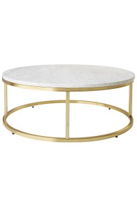 Small Round Marble Coffee Table Brass - Lexiang