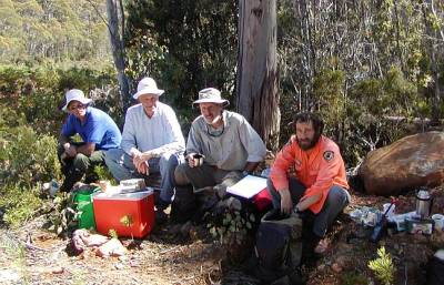 Volunteers and a ranger, Tasmania