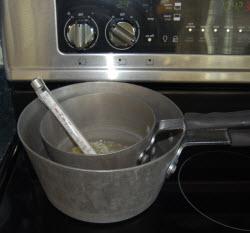 double boiler method for the lotion ingredients