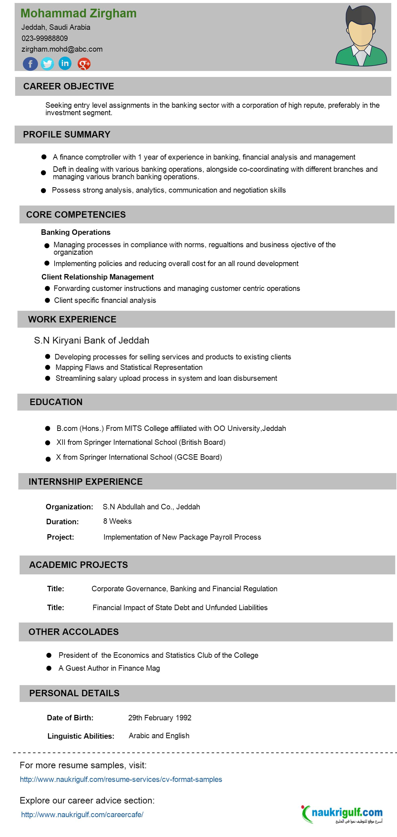 cv format for banking sector