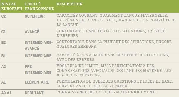 tableau de langues dans un cv