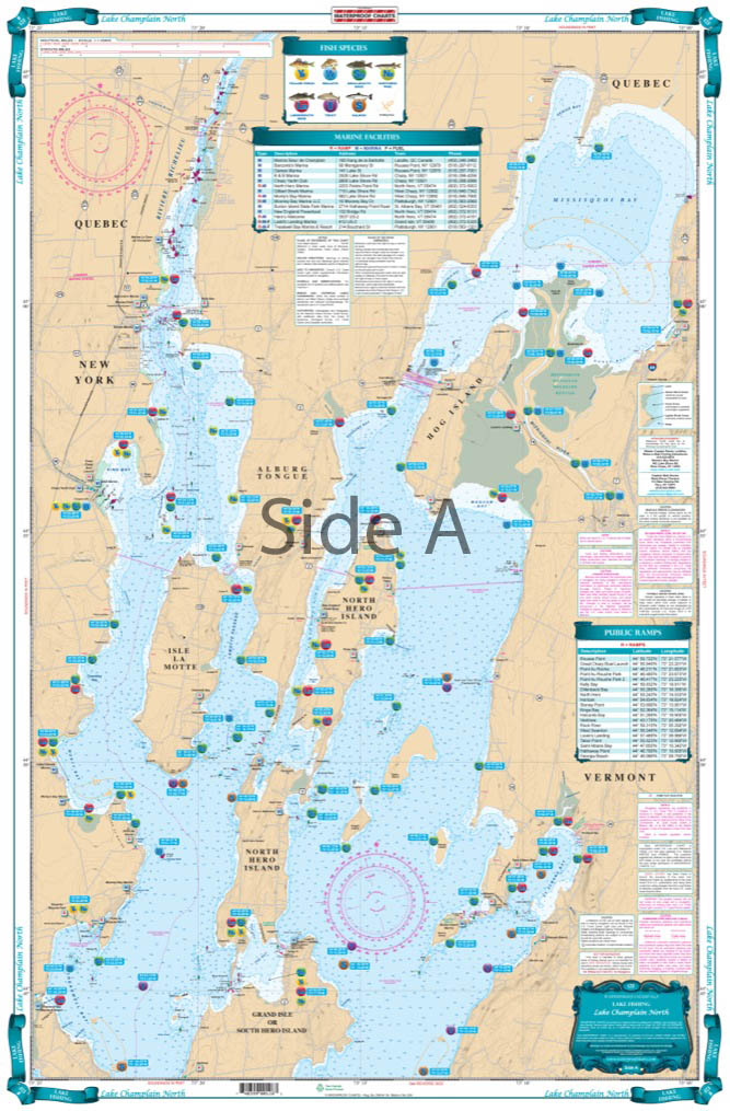 Lake Champlain North Lake Fishing Chart/map 12F