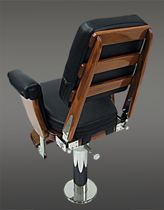Black Helm Chair With Full Exposed Teak Back