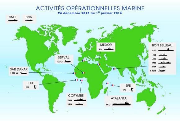 Operações da Marinha Francesa no mundo no final de dezembro de 2014 - imagem Marinha Francesa