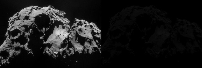 Comet 67P/Churyumov-Gerasimenko, taken from the Philae lander. (ESA)