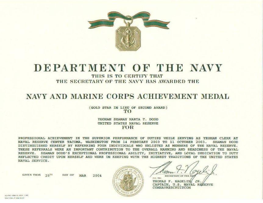 Navy Girl\u0027s Brag Sheet