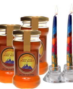 3 Nazareth Honey and two teper candles