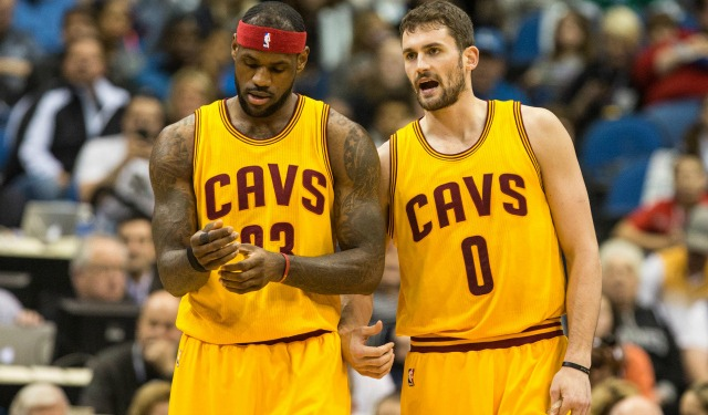 Jan 31, 2015; Minneapolis, MN, USA; Cleveland Cavaliers forward LeBron James (23) and forward Kevin Love (0) against the Minnesota Timberwolves at Target Center. The Cavaliers defeated the Timberwolves 106-90. Mandatory Credit: Brace Hemmelgarn-USA TODAY Sports