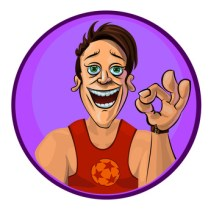 Vector illustration of smiling sport trainer showing OK sign. Made in comic cartoon style.