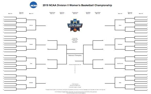 NCAA DII bracket 2019 Printable DII women\u0027s basketball tournament