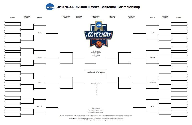 NCAA DII bracket 2019 Printable DII men\u0027s basketball tournament