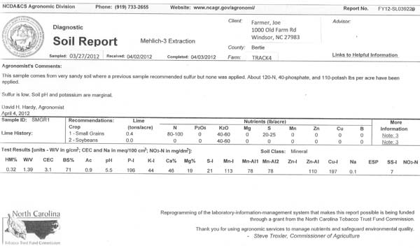 NCDACS Agronomic Division - Example soil test report