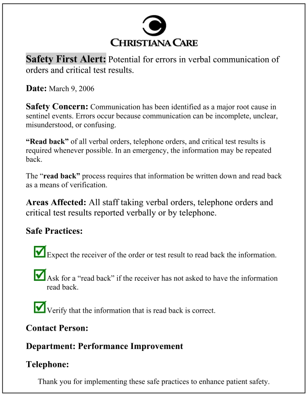 Figure 2, Sample Safety First Alert Each is a concise notice
