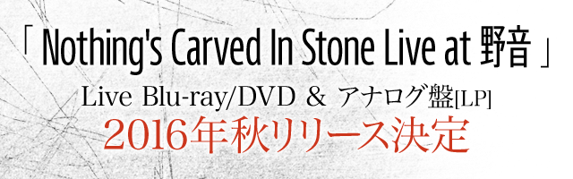 「Nothing's Carved In Stone Live at 野音」Live Blu-ray/DVD & アナログ盤[LP] 2016年秋リリース決定