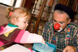 Clown with Cochlear Implanted Child