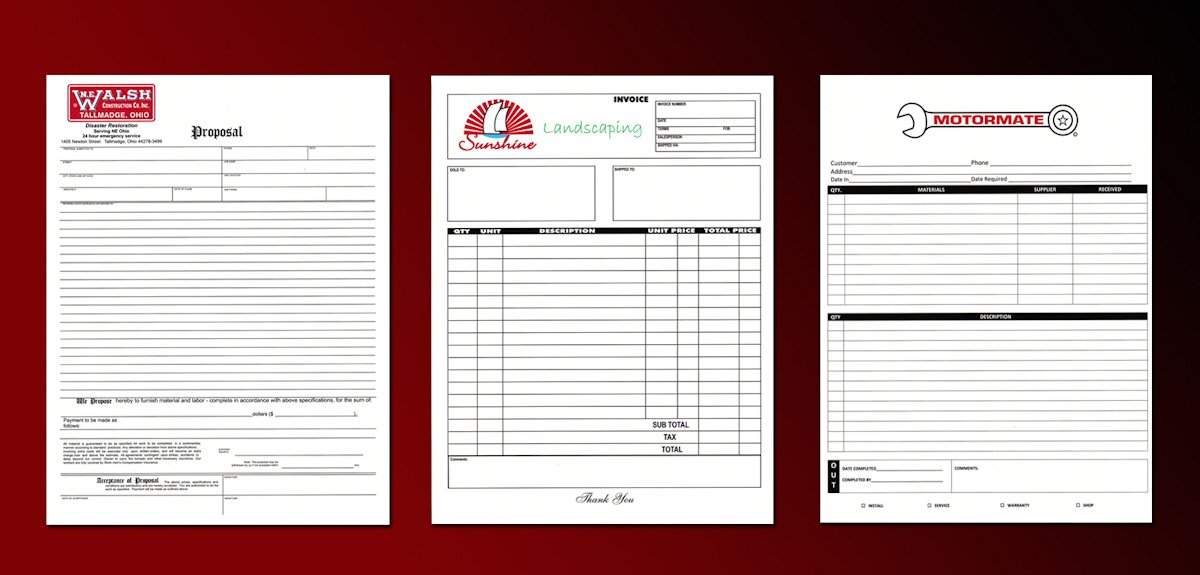 Custom Business Forms NCRForms - custom business invoices