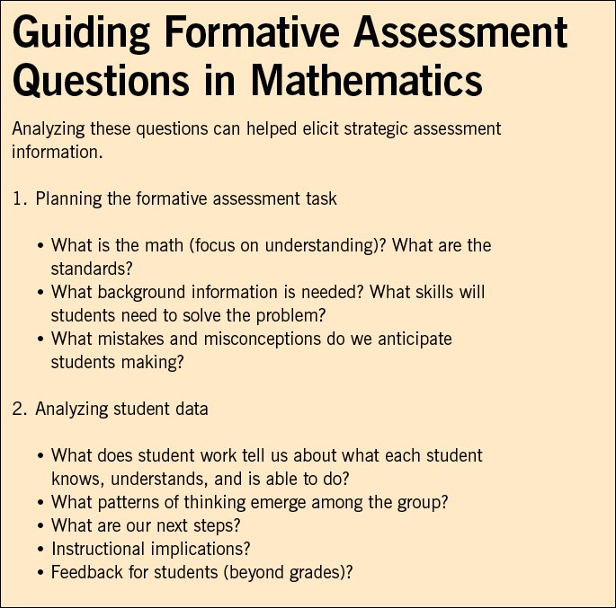 Monitoring Student Learning in Algebra - National Council of - formative assessment strategies