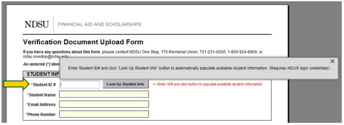 Submitting Verification Forms One Stop NDSU