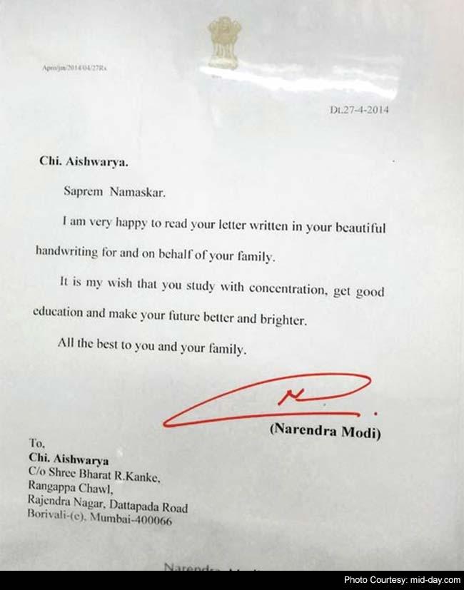 PM Replies to Mumbai HSC Student, Praising Her Handwritten Letters