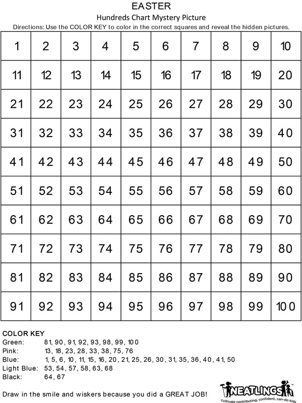Free Printable Easter Mystery Picture Activity 100\u0027s Chart - NEATLINGS