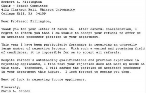 The Best Response to A Rejection Letter Ever - Neatorama