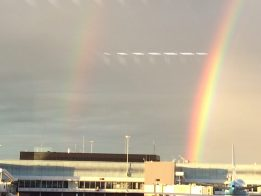 rainbow over an airport