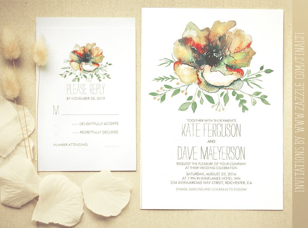 Colorful Watercolor Flower Wedding Invitation Need
