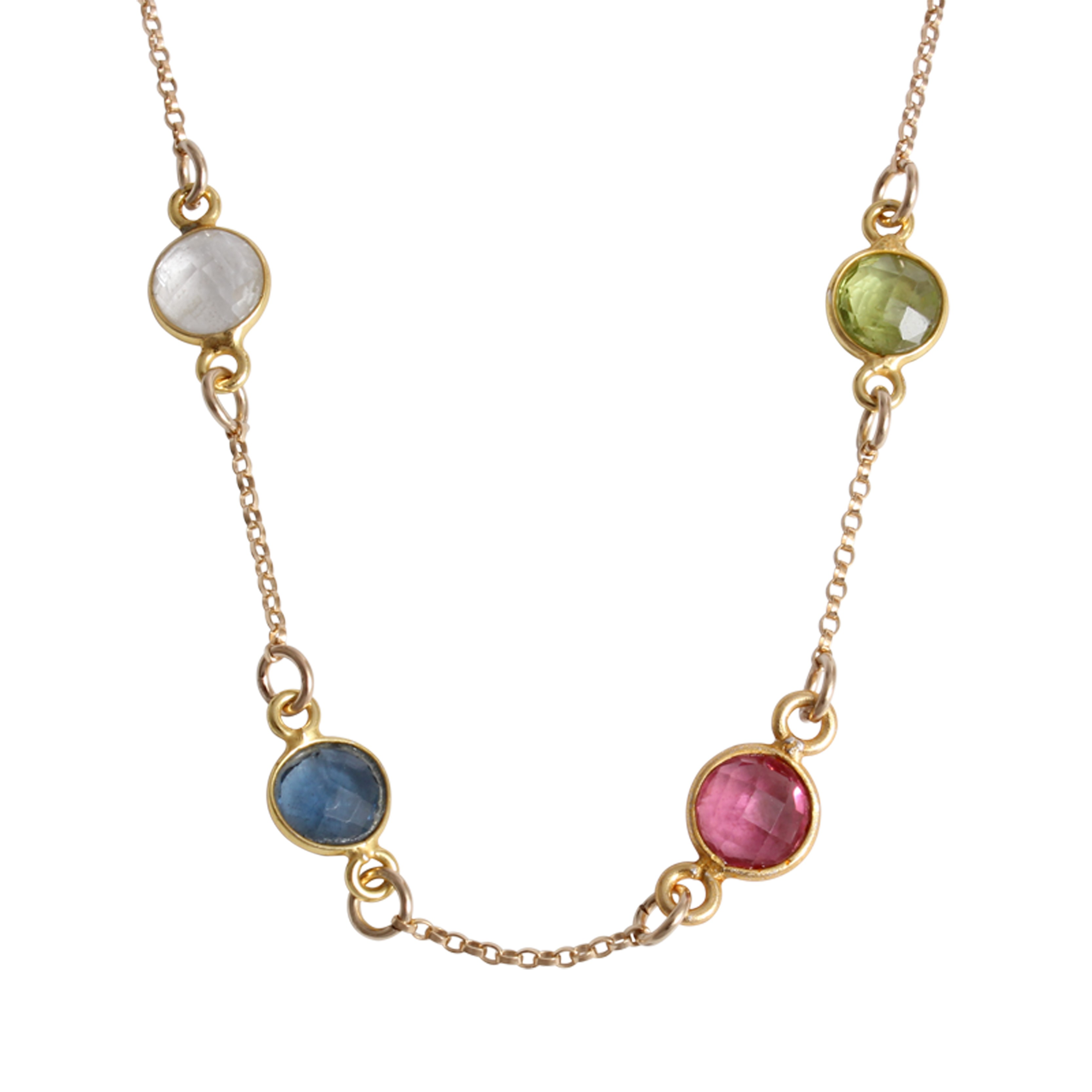 Mothers Birthstone Necklace Gold Pride And Joy For Four