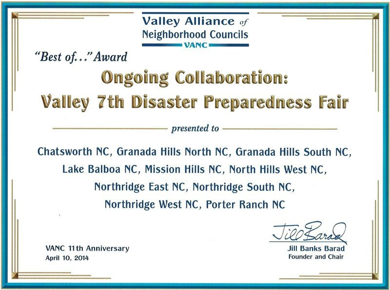 Northridge East Neighborhood Council Recognized for Participation in the Valley Disaster Preparedness Fair