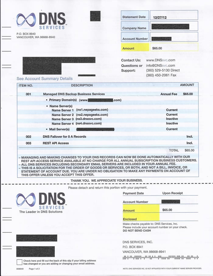 Beware DNS Services invoice scam Solicitation looks like a bill