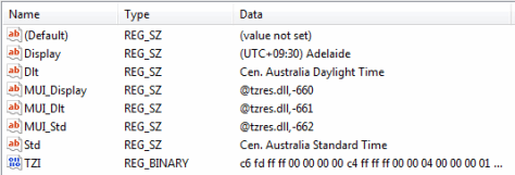 Regedit showing cryptic binary field for time zone configuration