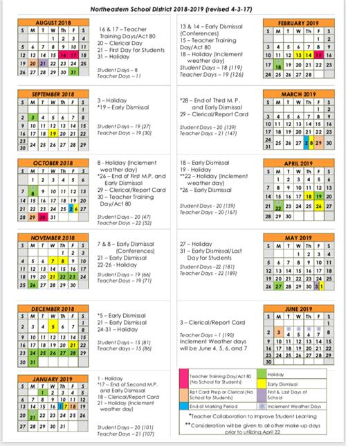 District Calendar / 2018-2019 Calendar (Overview)