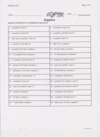 Math Worksheets Translating Algebraic Expressions ...