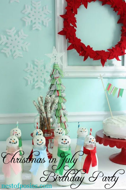 Christmas in July Birthday party for the twins!  via Nest of Posies - very easy & affordable using Christmas decor you already own, and serve your favorite Christmas treats!