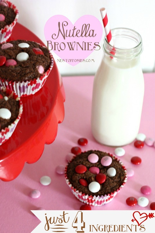 Valentine Nutella Brownies with only 4 ingredients!