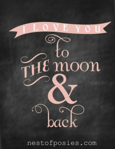 I Love You to the Moon & back in PINK via Nest of Posies