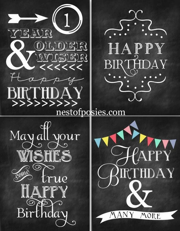 Happy Birthday Chalkboard Printables - Nest of Posies