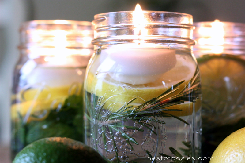 Summertime scents floating candles in a jar (with citronella drops)
