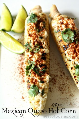 It's an amazing combo of Mexican flavors all in the crunch of grilled corn!  Mexican Queso HOT Corn via Nest of Posies