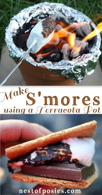 No camping required, no firepit required!  Just use a Terracotta Pot to make S'mores via Nest of Posies