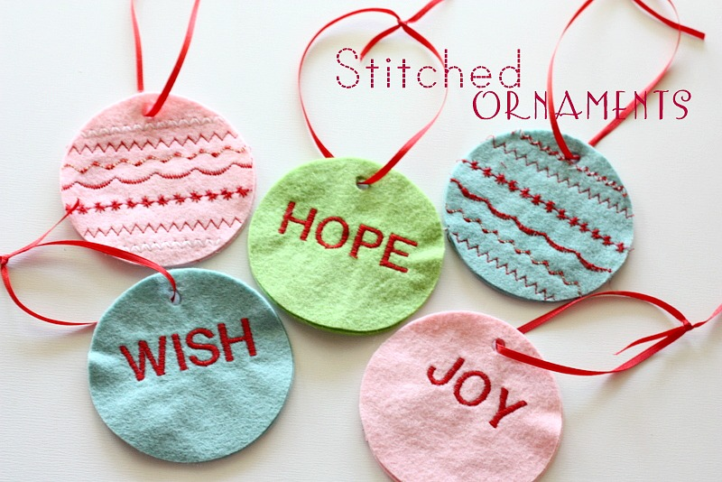 Wish Hope Joy Stitched Ornaments