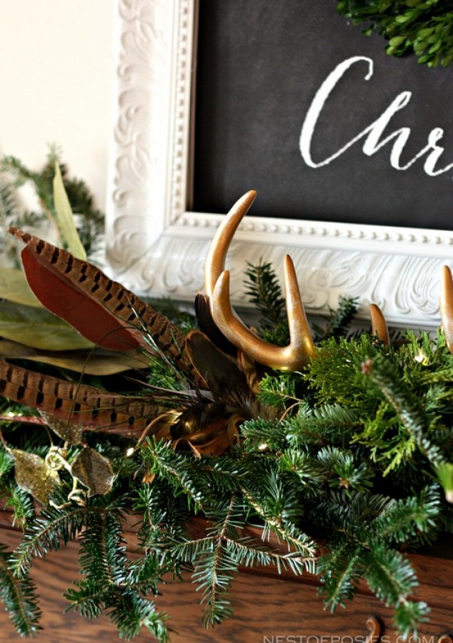 Christmas Mantel using fresh greenery