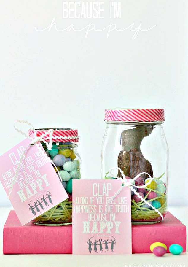 Because I'm Happy Easter Treat Jars with printable