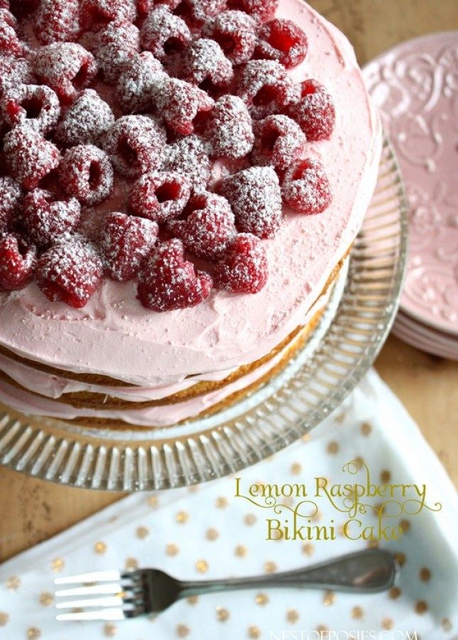 Lemon Raspberry Bikini Cake - cakemix box cake, quick and delicious homemade frosting!