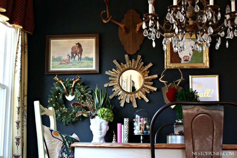 Craft room tour - Black walls in dining room ...