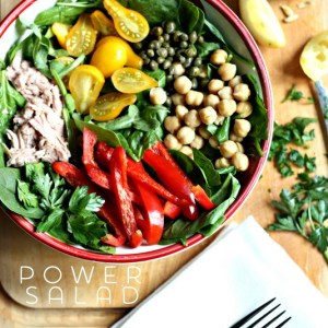 Spinach Power Salad.  A bowl of greens with some healthy toppings and an amazing lemon vinaigerette dressing