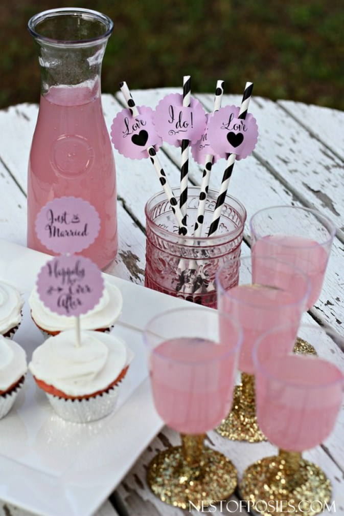 Wedding and Bridal Shower Cupcake and Drink Topper Printables