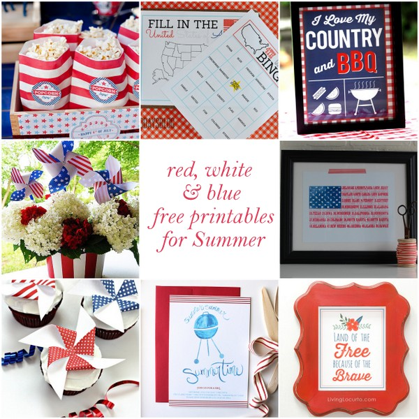 free red, white and blue printables for Summer